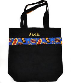 Black Superhero Tote Bag with Monogram Name Embroidered on it, Personalized Bag, Swin Bag, Daycare Bag, Toy Bag, Easter Basket Bag
