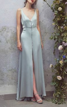 Satin Full Length Dress by Luisa Beccaria dress heels formal Sexy Maxi Dress, Sexy Dresses, Silk Dress, Blue Satin Dress, Satin Gown, Long Dresses, Dress Outfits, Elegant Dresses, Party Outfits