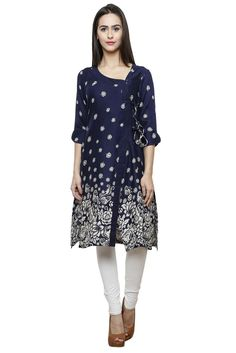 Flaunt sartorial elegance as you wear this Navy blue Colour Angrakha kurti from the house of Castle. Exclusively designed, this Angrakha kurti with regular fit will enhance your curves and soft Rayon will keep you comfortable. This attractive�Angrakha kurti will surely fetch you compliments for your rich sense of style