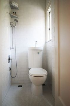 Tiny Bath Remodel x integrated toilet-sink - aging in place - portland - Hammer And Hand Tiny Bathrooms, Tiny House Bathroom, Modern Bathroom, Bathroom Small, Small Sink, Minimalist Bathroom, Simple Bathroom, Basement Bathroom, Compact Bathroom