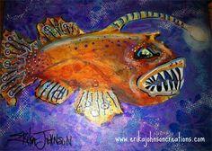 Angler fish/lantern fish : acrylic on canvas-fish art-art fish-lantern fish painting-deep sea fish-contemporary art-modern artist-american artist