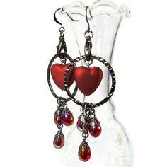 Heart Earrings, Valentine's Earrings, Crimson Red. $18.50, via Etsy. #BluKatDesign