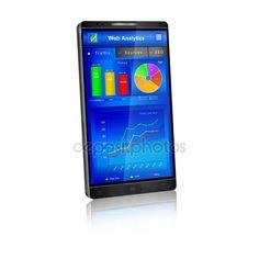 Web analytics application on smartphone screen — Stock Vector © jekh #143518581