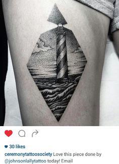 Black and gray dotwork lighthouse tattoo by @johnsonlallytattoo