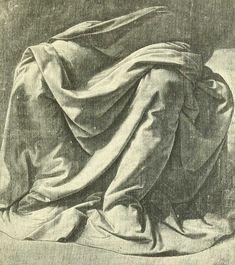 dessins Léonard de Vinci - Dessins Leonard de Vinci - etude d une ample draperie enveloppant le bas du corps d un personnage assis - Gravures, illustrations, dessins, images