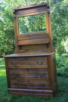 Antique Oak Dressers with Mirrors
