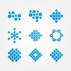 Set Of Stylized Neuron Molecular Health Logo Stock Vector