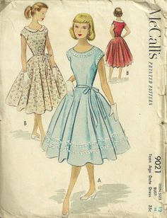 sewing patterns for 1950s style dresses | McCalls 9021 1950s Teen Date Dress Pattern with Full Skirt by mbchills ...