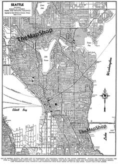 Seattle - Seattle Map Art Poster - Seattle Street Map - Vintage 11x14. $12.95, via Etsy.