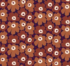 Cotton Sateen width/ printed to Repeat Designed by Maija Isola 1964 MARIMEKKO Rich chocolate brown an rust with warm beige and dark brown centers and stems on deep purple. Marimekko, Fabric Design, Pattern Design, Tea Design, Illusion Art, Arte Pop, Colour Board, Paper Beads, Texture Art