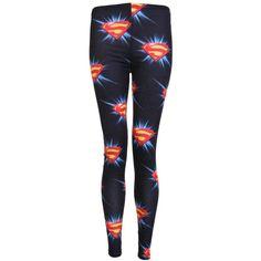 Superman Print Legging ($6.13) ❤ liked on Polyvore