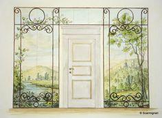 The original Sketch of Trompe l'oeil on Wardrobe. weww.scarmignan.com
