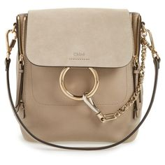 Women's Chloe Small Faye Suede & Leather Backpack (48 970 UAH) ❤ liked on Polyvore featuring bags, backpacks, motty grey, slouchy bags, slouchy backpack, gray bag, backpack bags and grey backpack