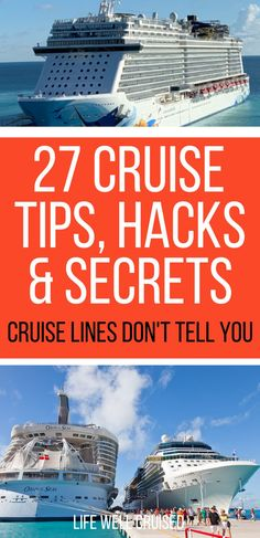 Everyone should know these cruise secrets! Here are 27 of the best cruise travel hacks that will make your vacation even better! Learn all the tips and tricks from cruise lines, travel agents and the cruise pros! Cruise Packing Tips, Cruise Travel, Cruise Vacation, Cruise Destinations, Vacation Ideas, Best Cruise Lines, Best Cruise Ships, Travel Hacks, Travel Tips