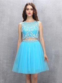 Blue Homecoming Dresses Freshman,Two Piece Homecoming Dress a line,Tulle Homecoming Dress Freshman Homecoming Dresses, Backless Homecoming Dresses, Two Piece Homecoming Dress, Dresses Short, Blue Dresses, Dance Dresses, Custom Dresses, Tulle Dress, Stylish Clothes