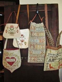 Samplers and Santas - Marly's bags, pouches and sacks.  Great finishing inspiration.