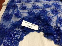 Beaded Fabric - Flower Mesh Dress Royal Blue Sequins Lace Bridal Veil By Yard