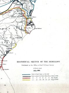 """Historical sketch of the rebellion through July of 1862 #CW150    Indicated by colored lines are the """"limits of loyal states in July, 1861, limits occupied by United States forces March 1st 1862... May 15th 1862, and July 15th 1862.""""    Explore the map in detail at http://zoom.it/xY9z"""
