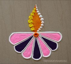 Very Easy Diya Rangoli For Diwali Rangoli Designs Simple Diwali, Indian Rangoli Designs, Rangoli Designs Latest, Rangoli Designs Flower, Free Hand Rangoli Design, Rangoli Border Designs, Small Rangoli Design, Rangoli Patterns, Colorful Rangoli Designs