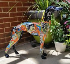 Talavera Greyhound Dog by PetcentricPottery on Etsy.