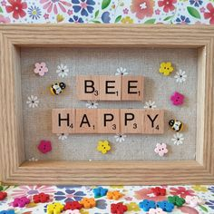 Bee Happy, new in my shop today. Scrabble Letter Crafts, Scrabble Tile Crafts, Scrabble Frame, Family Scrabble Art, Scrabble Pieces Crafts, Wood Letters, Vintage Jewelry Crafts, Diy Jewelry, Box Frame Art