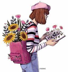 New flowers girl drawing watercolors 53 Ideas Girl Drawing Sketches, Cartoon Girl Drawing, Book Drawing, Cartoon Art, Cute Drawings, Sunflower Illustration, Illustration Girl, Watercolor Girl, Watercolor Drawing