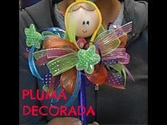 tutorial para decorarar una pluma o lapicera para fiestas infantiles, bautizos, primeras comuniones o cualquier tipo de evento o simplemente para regalar.