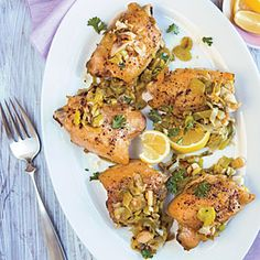 Braised Chicken with Honey-Lemon Leeks | CookingLight.com #myplate, #protein