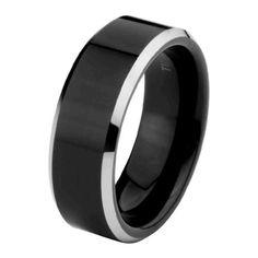 Security Jewelers Cobalt 10mmm Black Laser Design Band Size 14 Ring Size 14
