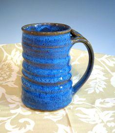 Large Pottery Mug Big Coffee Mug Bright by LaurenBauschOriginal, $22.00