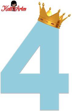 Alfabeto de Números Azul Claro con Coronas.