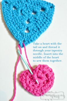 Crochet Valentine's Bunting - how to attach the hearts to the triangles