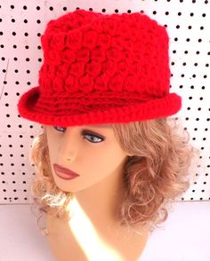 Red Crochet Hat Womens Hat Womens Crochet Hat Womens Fedora Hat Red Hat ANDY Crochet Fedora Hat for Women Crochet Hat by strawberrycouture by #strawberrycouture on #Etsy