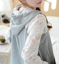 Lace Stitching Casual Loose Cardigan Sweater.