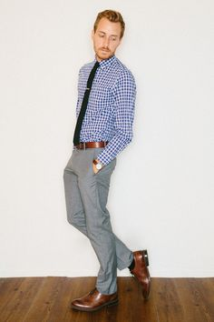 gingham shirt, skinny tue, brown dress shoes w/ matching belt, love it!