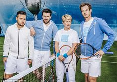 (From left to right) Liam Payne, Jack Whitehall, Clare Balding and Andy Murray pose for a team photo.