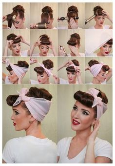 Coiffure foulard années 50 rockabilly pin upYou can find Pin up hair and more on our website.Coiffure foulard années 50 rockabilly pin up Bandana Hairstyles, Retro Hairstyles, Pin Up Hairstyles, Hairstyle Ideas, Vintage Hairstyles For Long Hair, Wedding Hairstyles, Grease Hairstyles, Halloween Hairstyles, Fashion Hairstyles
