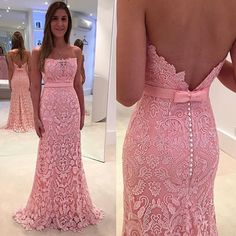 Am259 strapless long mermaid pink lace prom dress,lace prom gowns,backless wedding bridal gowns
