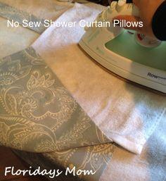 No Sew Shower Curtain Pillows