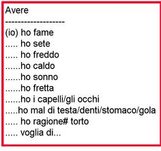 espressioni con AVERE by e-italika.gr