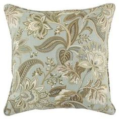 """Featuring a charming paisley motif and welted trim, this neutral pillow adds classic appeal to your sofa or bedding.  Product: PillowConstruction Material: Linen and rayon cover and polyester fiber fillColor: Blue, gold, cream and tanFeatures:  Hidden zipper closureMade in the USAInsert included 5 lbsDimensions: 19"""" x 19""""Cleaning and Care: Spot clean only"""