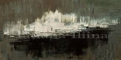Slice, by Tatiana iliina, minimalist Abstract fine art painting canvas print of original black dark