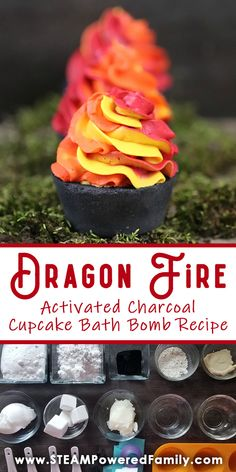 Dragon Fire Bath Bombs - Fizzy, Fiery, Fierce DIY Project and Chemistry Lesson - Calling all Dragon Lovers! These amazing Dragon Fire Bath Bombs are sure to set your heart racing. The Body Shop, Black Cupcakes, Cupcake Bath Bombs, Wicked, Nails Polish, Bath Bomb Recipes, Whipped Soap, Antique Christmas, Primitive Christmas