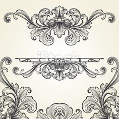 Baroque Flourish Set Royalty Free Stock Vector Art Illustration