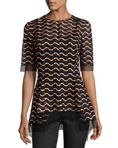 LELA ROSE WAVY-ILLUSION HALF-SLEEVE TOP. #lelarose #cloth #