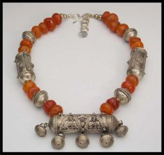 OLD MOROCCO - Vintage Handmade Moroccan Silver and Amber Statement Necklace