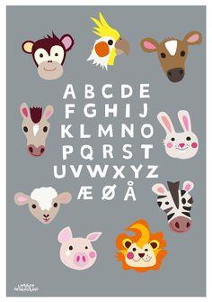 Childrens poster, Alfabet, Danish Alphabet  poster, 50x70 cm. Designed by Charlotte Søeborg Ohlsen, Littlelot Designstudio