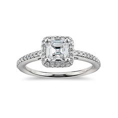 Asscher Cut Halo Cubic Zirconia Engagement Ring In 14K White Gold Plated Over…