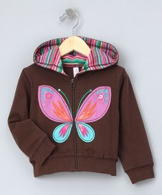 Take a look at this Brown Butterfly Zip-Up Hoodie - Girls by Love U Lots on #zulily today!