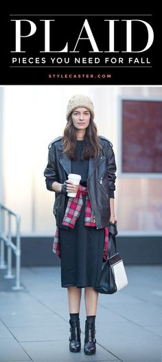 Plaid shirt wrapped around the waist. Paired with leather jacket, beanie, midi dress, and ankle boots.